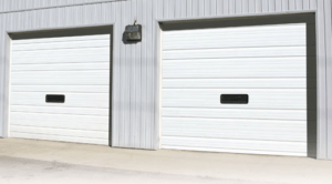 white commercial garage door installation in little rock, ar