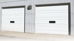 white commercial garage door installation in little rock, ar