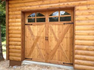 custom garage door made of wood located in hot springs, ar